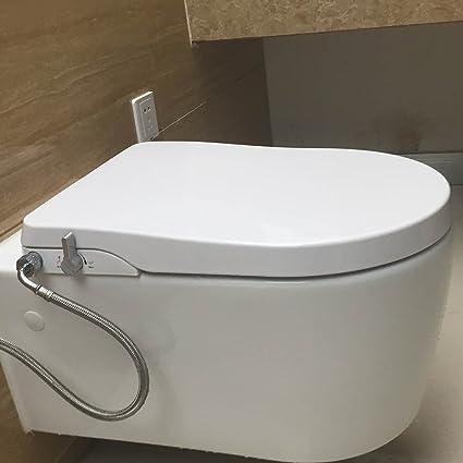 Asiento para inodoro con función bidé manual, de la marca Hibbent, blanco