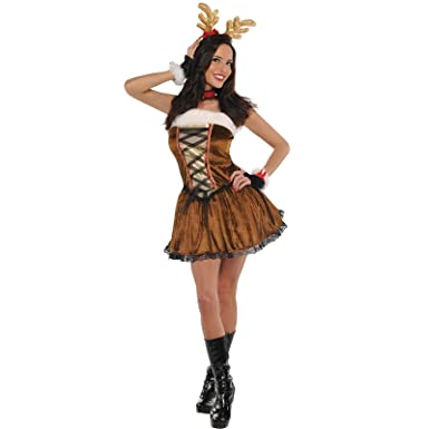 Medium 10-12 - Ladies Reindeer Fancy Dress Costume New Sexy Christmas Rudolf Miss Vixen  sc 1 st  Amazon UK : womens reindeer costume  - Germanpascual.Com