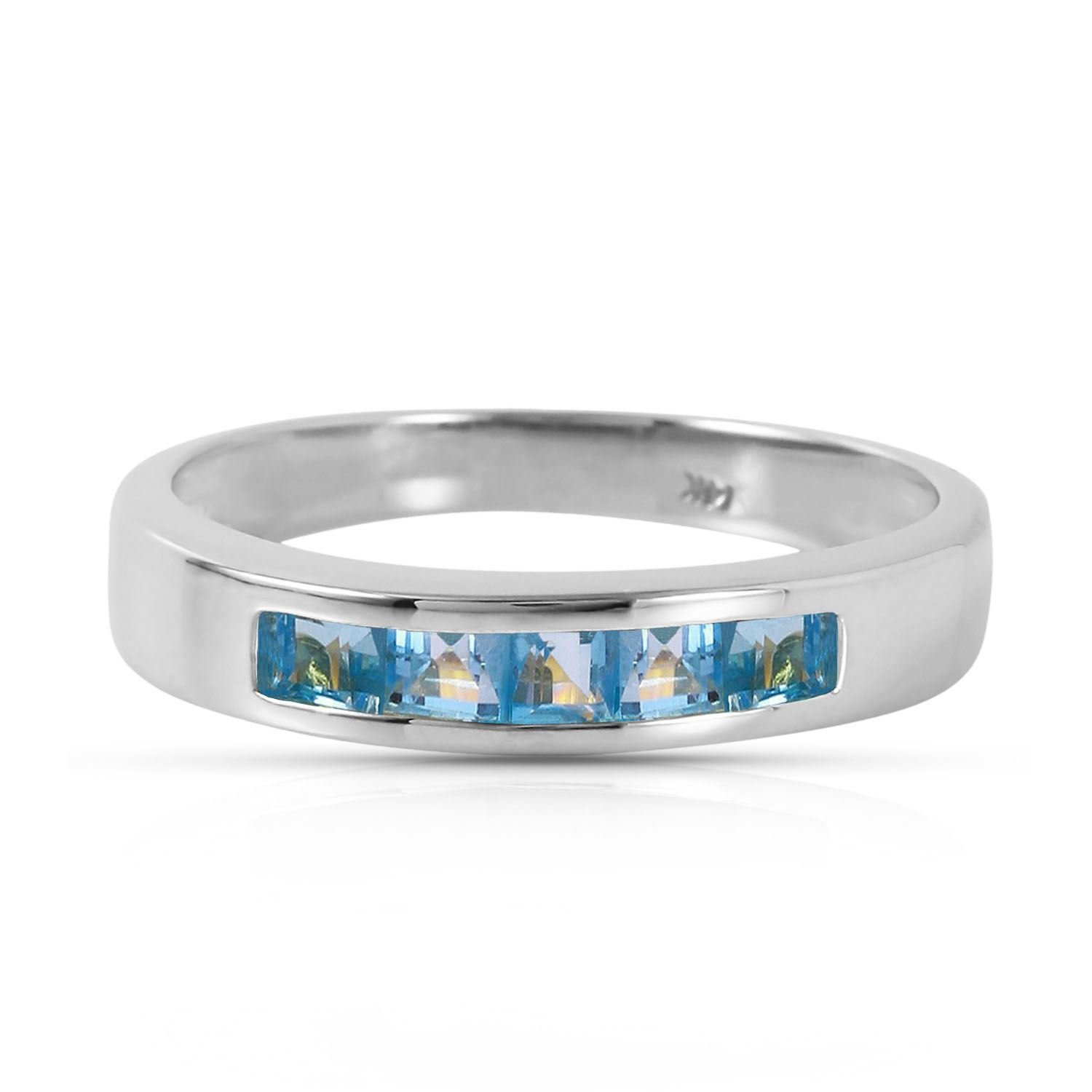 ALARRI 0.6 CTW 14K Solid White Gold Looking Glass Blue Topaz Ring With Ring Size 8