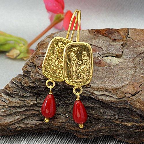 Omer Sterling Silver Roman Art Coin W/ Coral Charm Earrings Gold Vermeil Turkish Fine Jewelry (Roman Coin Earrings)