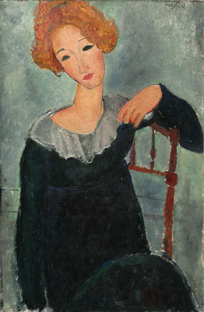 Amedeo Modigliani 赤髪を持つ女性Woman with Red Hair 油絵 キャンバス 木枠なし 40X60cm 女性の肖像画複製画 完全に立体に複製 3D 印刷 美術品 部屋 壁掛け B07DL5RRM2Woman With Red Hair 40X60 cm