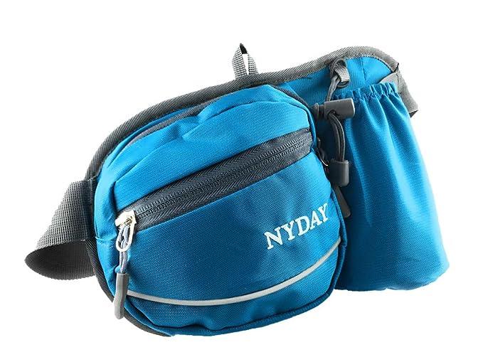 NYDAY Cinturón de hidratación Riñonera/riñonera Impermeable - Portabotellas - Cinturón de Running para Tus Deportes al Aire Libre - Azul: Amazon.es: ...