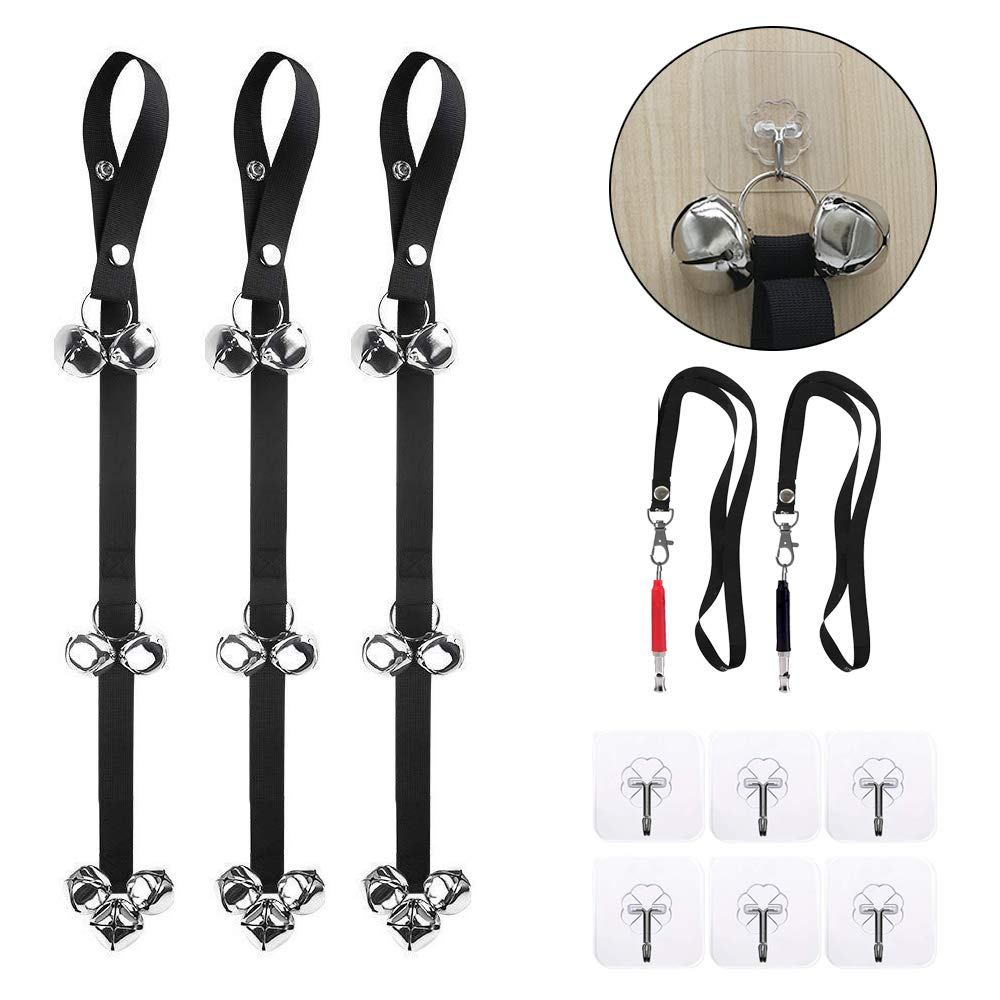 VIGOROSO Dog Doorbells for House Training and Housebreaking, 3 Pack Bells with 2 Whistles & 6 Pcs Adhesive Hooks for All Pets PottyTraining (Black)