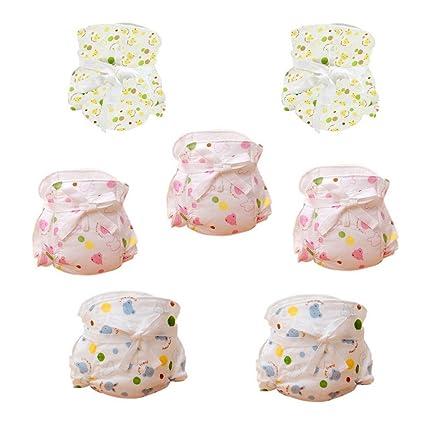 Dehang - (7 Pcs) Pañales Bragas de tela de algodón Lavable para Bebés recién