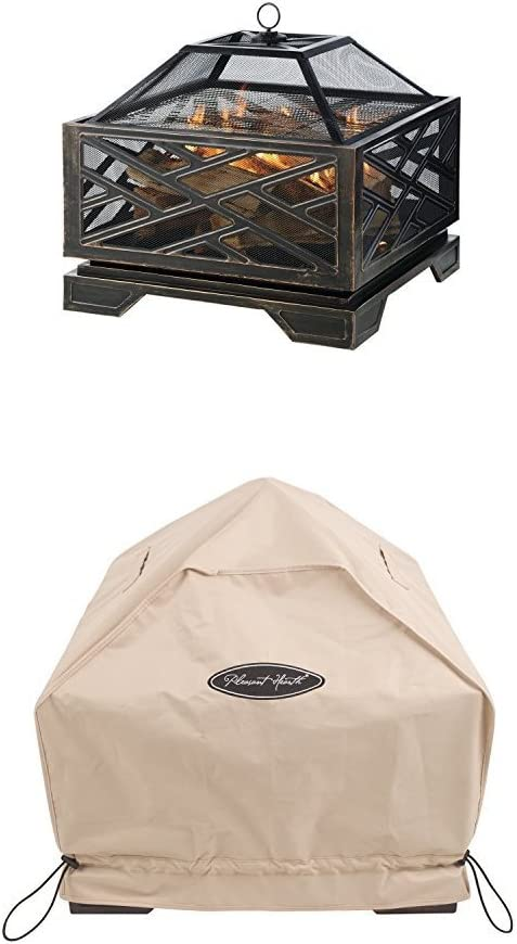 Pleasant Hearth Martin Extra Deep Wood Burning Fire Pit, 26-Inch with Square Fire Pit Cover, Small