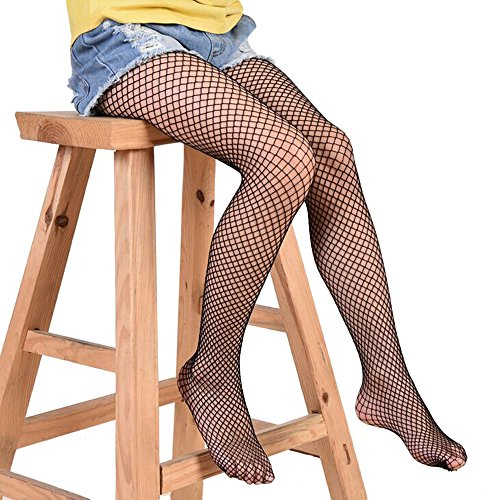 1 Piar of Kids Girls Hollow Out Fishnet Pantyhose Tights Black (Medium Net, Black-1)