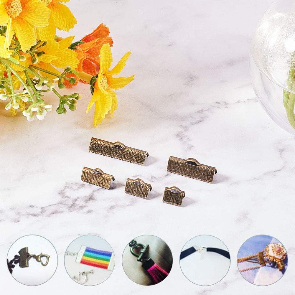 PandaHall Elite 150 STK 25mm Messing Bandenden Clamp Crimps Cord Ends mit Schleife f/ür Armband Schmuck DIY Craft Making Antique Bronze 5 Gr/ö/ßen 8//10//13//20