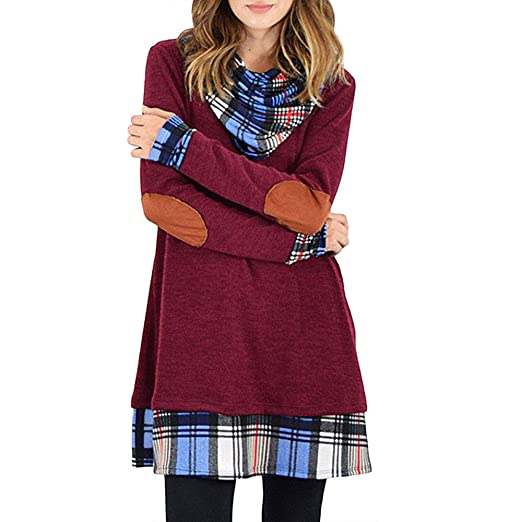 Alaster Queen Womens Cowl Neck Long Sleeve Plaid Elbow Patch Casual