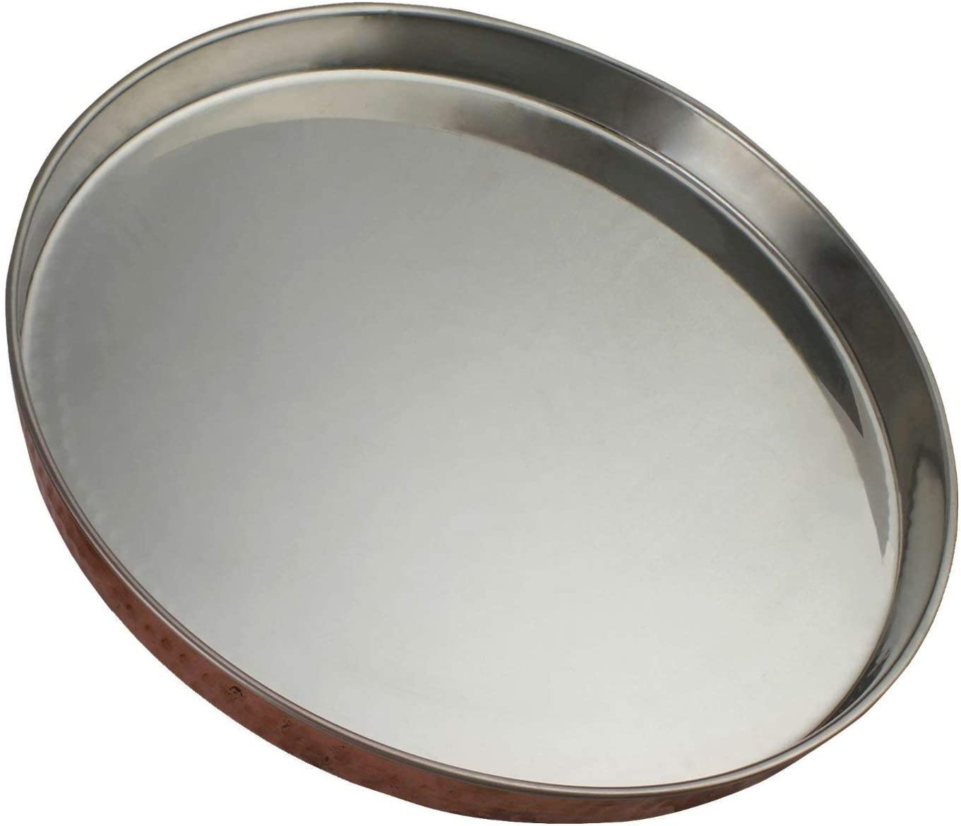 Hammered Copper & Stainless Steel Dinner Plate Thali Tableware Dinnerware for Indian Food and Dishes 12 Inches