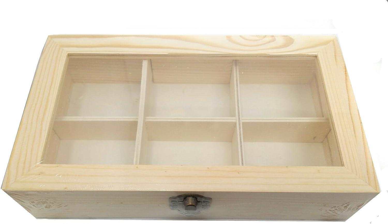 Caja para infusiones 6 compartimentos de madera bruto de encaje ...