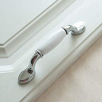 Lbfeel 3 3 75 5 6 3 White Ceramic Dresser Drawer Pull Handles Kitchen Cabinet Door Knobs Silver Furniture Knob Handle 76 96 128 160mm 3 Hole Centers Amazon Com