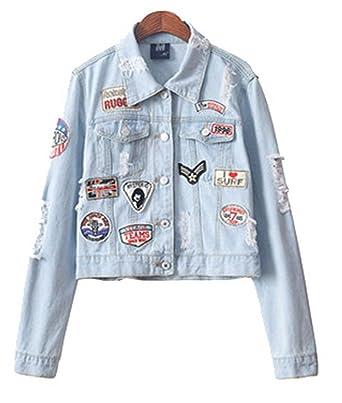 33fc1d42ecc Tengfu Women s Vintage Blue Destroyed Denim Jean Jacket Coat with Patch  Pocket