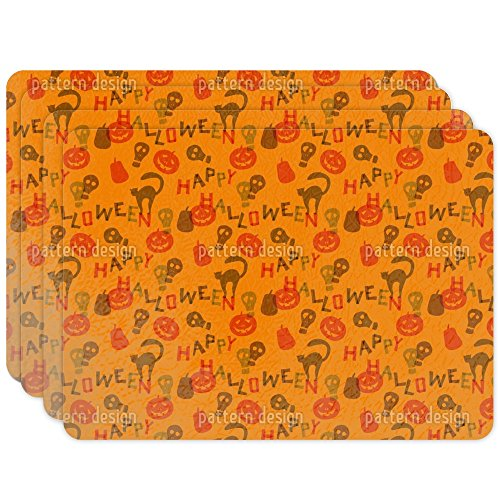 Halloween Snippets Placemat Set of 4 Vinyl Easy Clean Heat Insulation (Kids Snippet Halloween)
