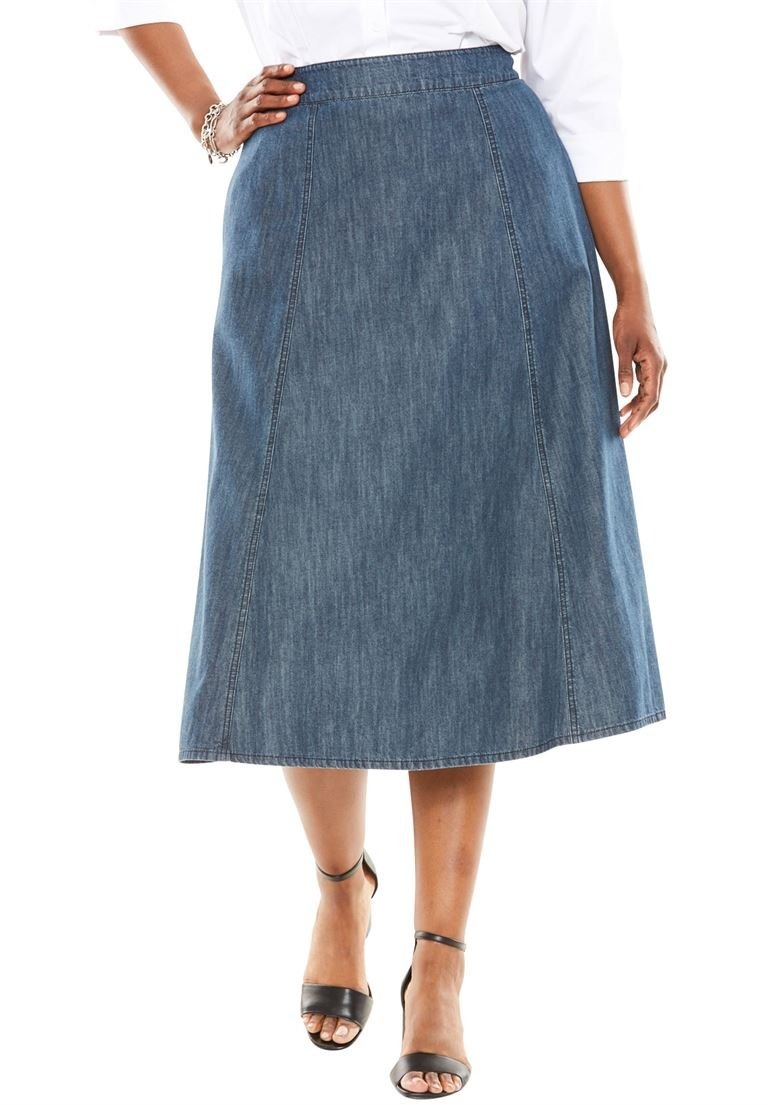 Jessica London Women's Plus Size A-Line Denim Skirt Indigo Wash,26