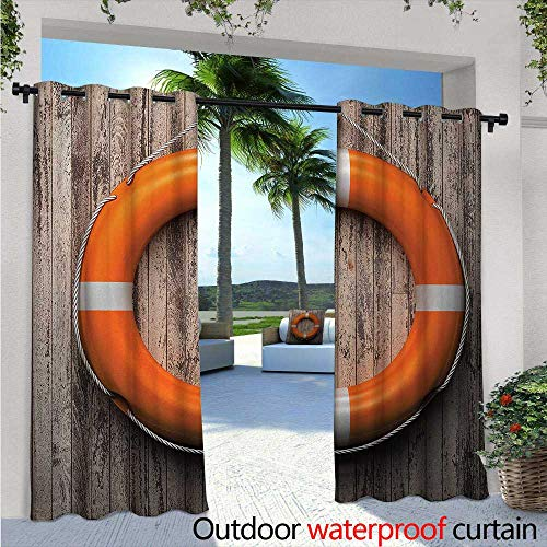Buoy Exterior/Outside Curtains W72 x L84 Life Buoy Attached to a Wooden Wall Hardwood with Grunge Rustic Aged Look Print for Patio Light Block Heat Out Water Proof Drape Tan Orange White
