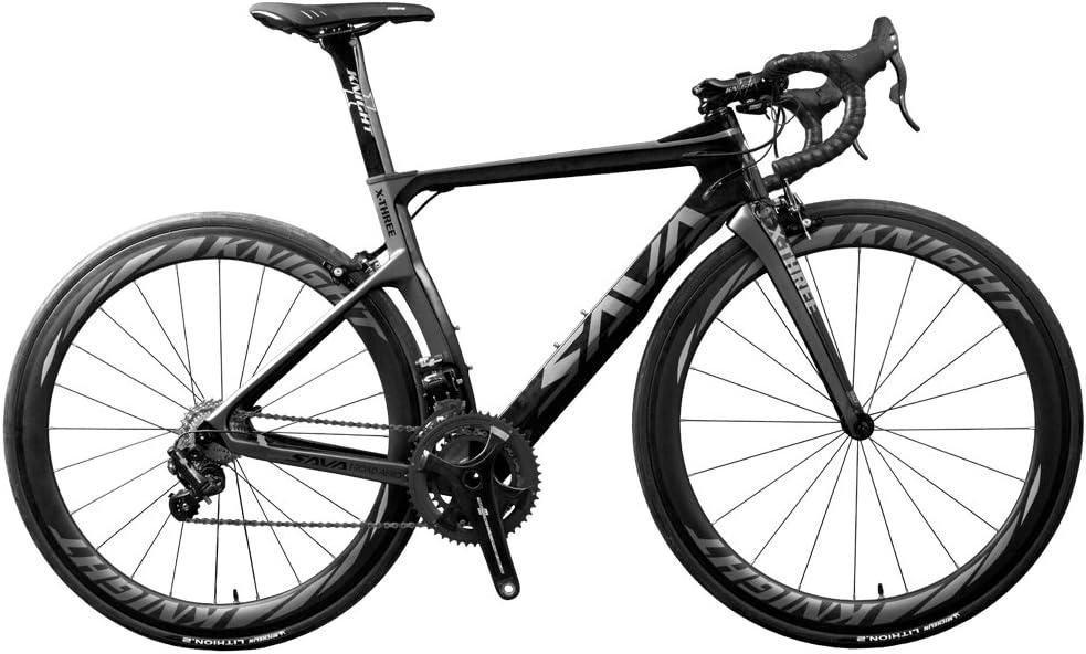 SAVADECK Phantom 8.0 700C Bicicleta de Carretera con Fibra de Carbono para Bicicletas con Campagnolo Chorus 22 Speed Groupset Michelin 25C Silla de Montar Tyco y Fizik (47cm, Negro Gris): Amazon.es: Deportes