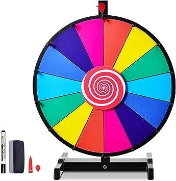 Karneval Radiergummi und Markierstift Spin Spiel f/ür Lotteriespiele und Wortspiele Veranstaltung editierbare Farbe Preisrad ideal f/ür Party inkl RELAX4LIFE 24 Gl/ücksrad mit Stativ 14 Slots