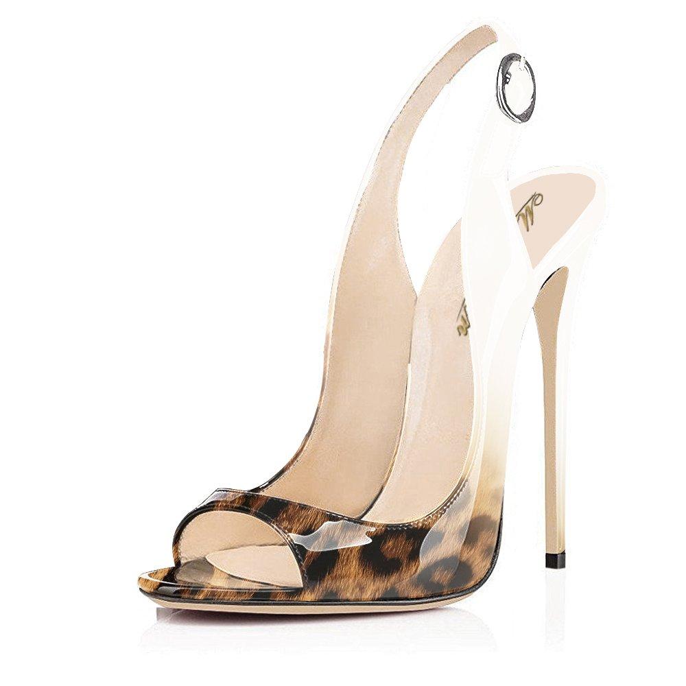 Modemoven Women's Patent Leather Pumps,Peep Toe Heels,Slingback Sandals,Evening Shoes,Cute Stilettos B072HC3N3V 9.5 B(M) US Leopard
