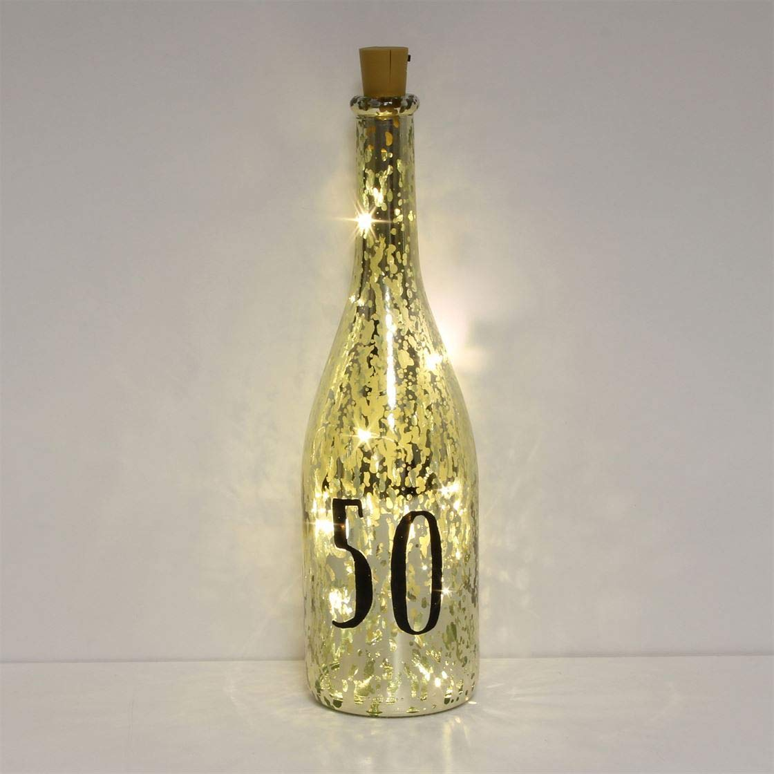 Gold Crackle Glaze Battery Light Up Bottle