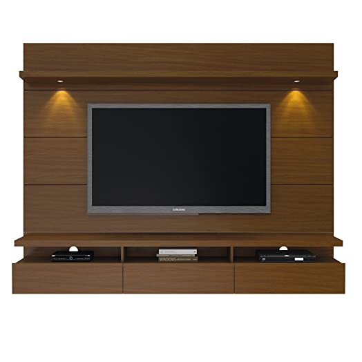 Manhattan Comfort Cabrini 2.2 Floating Wall Theater Entertainment Center in Nut Brown