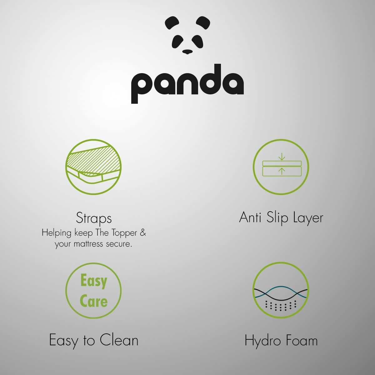 UK Doppio Copri materasso Bamboo Il Copricuscino Panda - Con Inserto Di Gel Memory Foam Idro-Foam