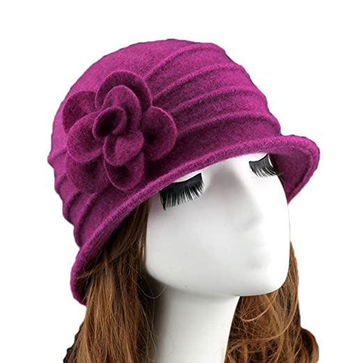 dcf306d52344c Ealafee Women Church Bowler Hat 100% Wool Cloche Hat for Women Fedora  Beanie Cap