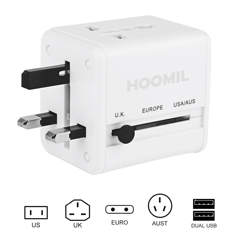 HOOMIL Adaptador Enchufe de Viaje Universal Enchufe Adaptador Internacional Con Dos Puertos USB para US EU UK AU acerca de 150 Países - H3100 (Blanco): ...