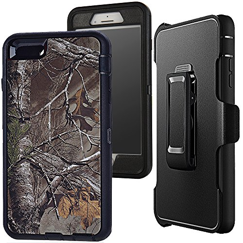 """iphone 7 Camouflage Case,Auker Defender 4 in 1 Xtra Tree Camo Shockproof Water Resistant Heavy duty Full Body Protective Belt Clip Case Cover with Impact Screen Protector for iphone 7 4.7"""" (X-Black)"""
