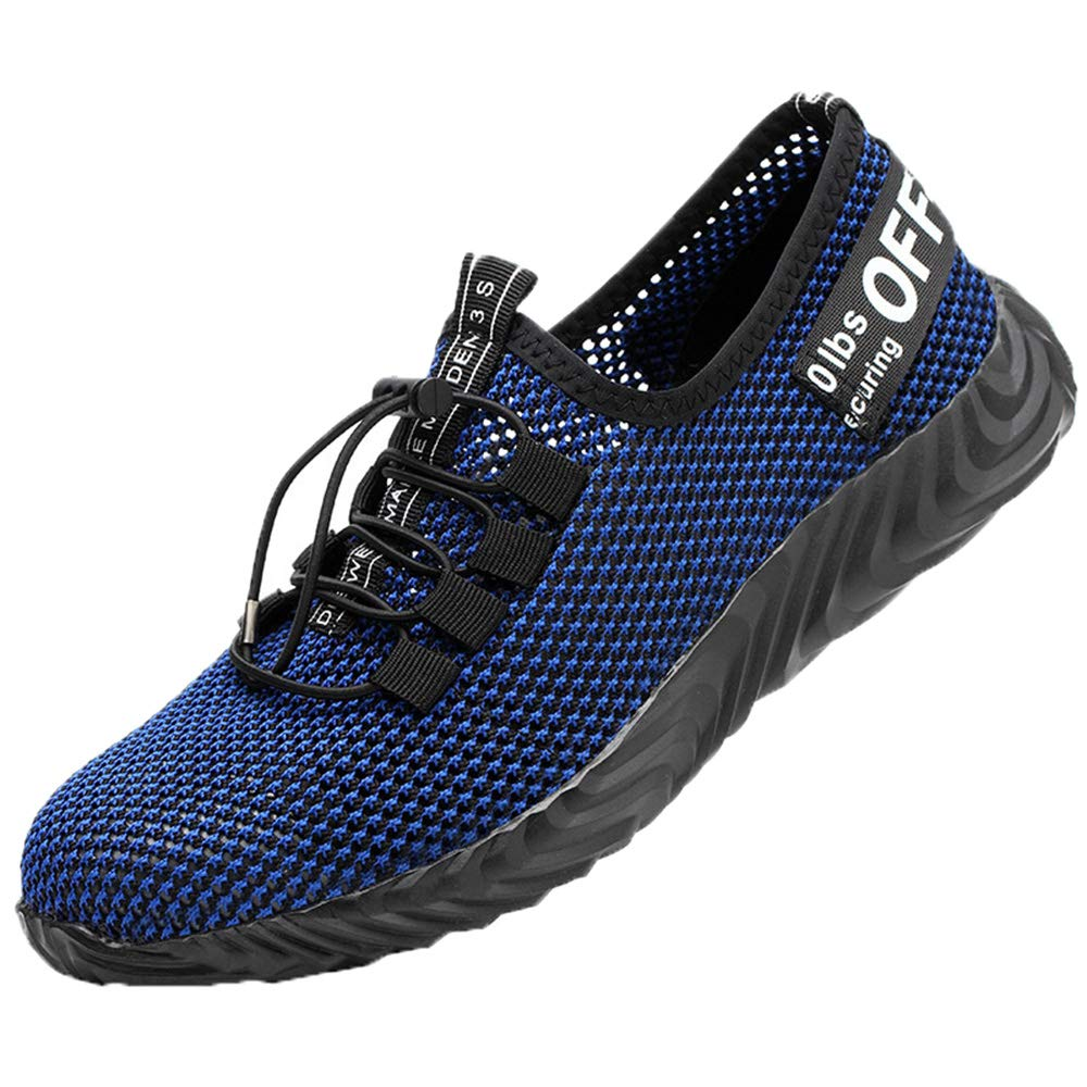 Men's and Women's Safety Work Shoes, Summer Breathable mesh Anti-Smashing Anti-stab Steel Head Shoes Non-Slip Foot Work Training Shoes, Lightweight wear-Resistant Construction Shoes