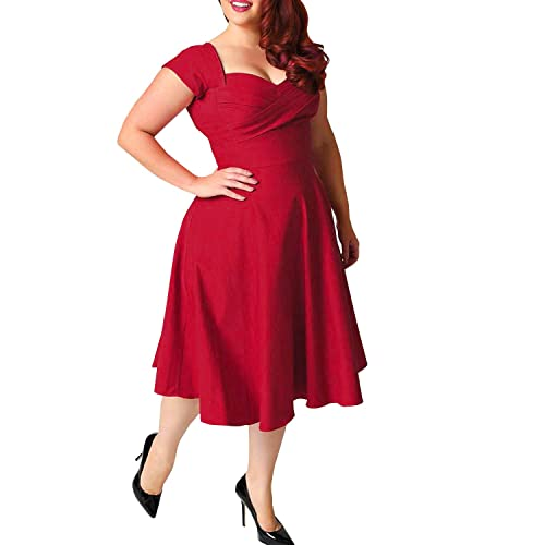 BIUBIU Womens 50s Plus Size Vintage Swing Dress Bridesmaid Cocktail UK 16-26