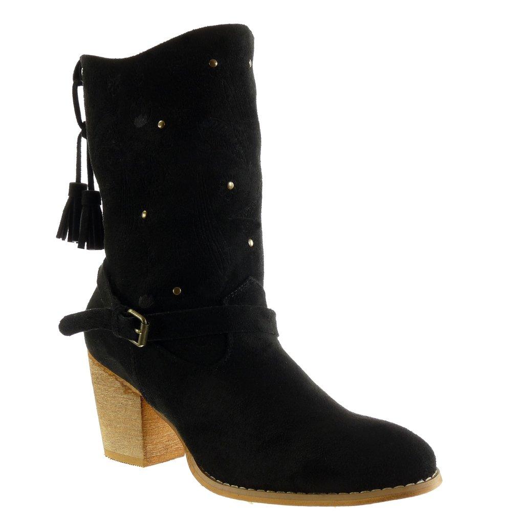 Angkorly - Zapatillas de Moda Botines santiags - Cowboy - Vaquero Cavalier Flexible Mujer Flores Tanga Fleco Talón Tacón Ancho Alto 7 CM: Amazon.es: Zapatos ...