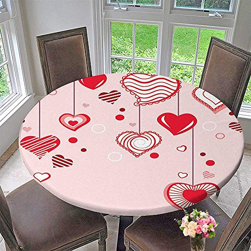 Mikihome Luxury Round Table Cloth for Home use Contour Hearts Hanging On Strings Romantic Anniversary Celebration Happy for Buffet Table, Holiday Dinner 35.5