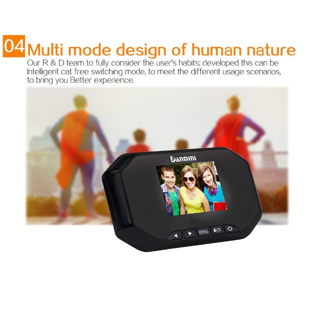 Negro Queenaal Danmini 30AHD Pantalla LCD TFT de 3.0C/ámara HD C/ámara de visi/ón Nocturna Visor de Mirilla de Puerta