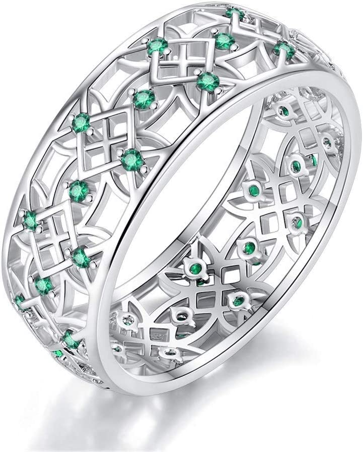 NOBRAND Anillo de circón de Moda Creativa Accesorios de Damas Partido Jewelr (Color : Green, Size : Number 9)