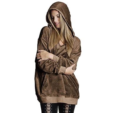 MEIbax Sudaderas con capucha Sudadera con Capucha para Mujer Soft Velvet Jumper Pullover Sudadera con Capucha Oversize Coat Jacket: Amazon.es: Ropa y ...