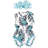 Abbigliamento Neonato, Dragon868 elasticizzati blu fiori con nappa pagliaccetto + fascia per capelli bowknot Set 2018 estivi