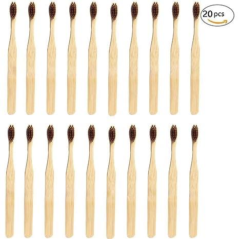 Cepillo de dientes de bambú ecológico, de madera natural. Cepillo de