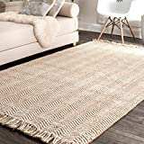 nuLOOM 200NCNT01A-305 Hand Woven Don Fringe Jute Rug, 3' x 5', Off- Off-White
