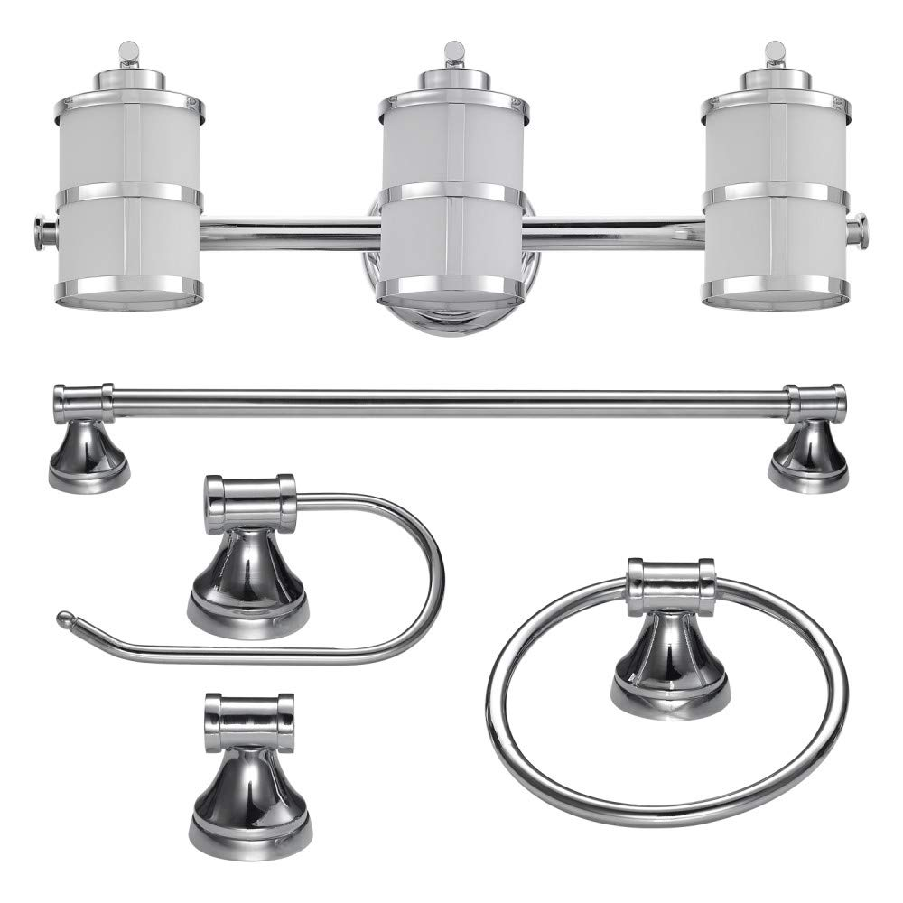 Globe Electric 51285 Kennewick 5-Piece All-In-One Bath Set, Polished Chrome Finish, 3-Light Vanity Light, Towel Bar, Towel Ring, Toilet Paper Holder, Robe Hook