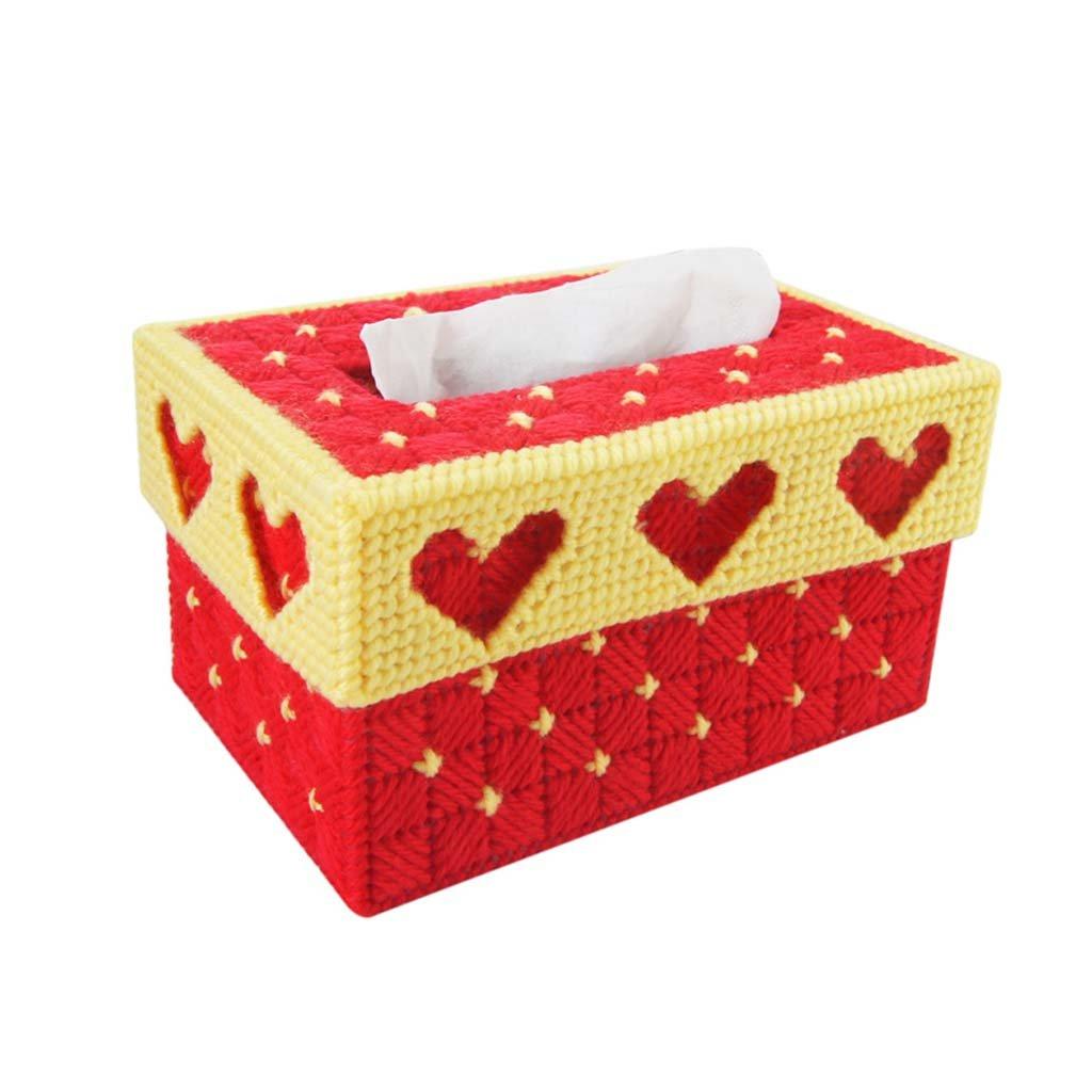L&Y Cajas DIY europeo personalizado creativo 3D punto de costura dormitorio sala de estar linda caja de tejido de bordado estéreo (Color : PAG) : ...