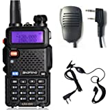 Baofeng UV-5R 136-174/400-520MHz Dual Band Two Way Radio, Rechargeable Amateur Ham Walkie Talkie With Free Earpiece & Speaker Mic