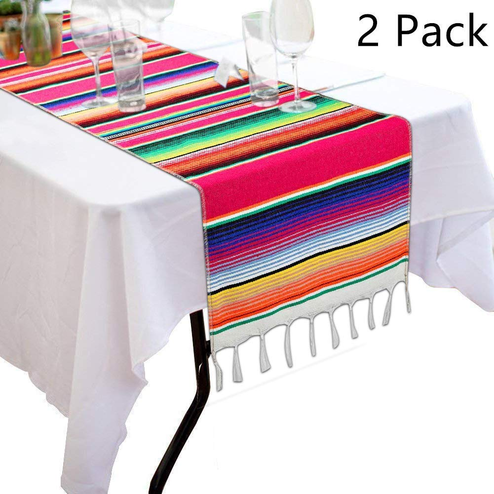 ALIWO Mexican Serape Table Runner Colorful Cotton Fringe Blanket for Mexican Party Outdoor Wedding Kitchen Decorations (Pink 2Pcs)