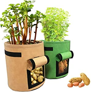 Huaxiangoh Garden Plant Bag Vegetables Growing Container for Potato Cultivation Grow Bags Home Balcony Garden Plant Bag Vegetables Growing Container for Potato Cultivation Grow Bags