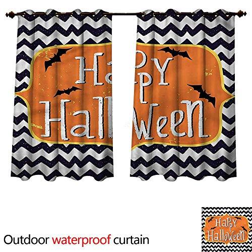 (cobeDecor Halloween 0utdoor Curtains for Patio Waterproof Doodle Style Chevron Bats W55 x L72(140cm x)