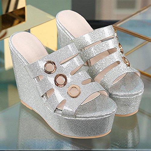 GJDE Sandalias de Tacón Alto Impermeable Pendiente Panecillo de Fondo Grueso Con Zapatillas Mujer Cuña Plataforma silver 10 cm