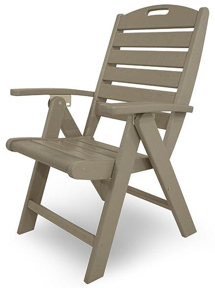 Nice Trex Outdoor Furniture Yacht Club Folding Highback Chair, Sand Castle