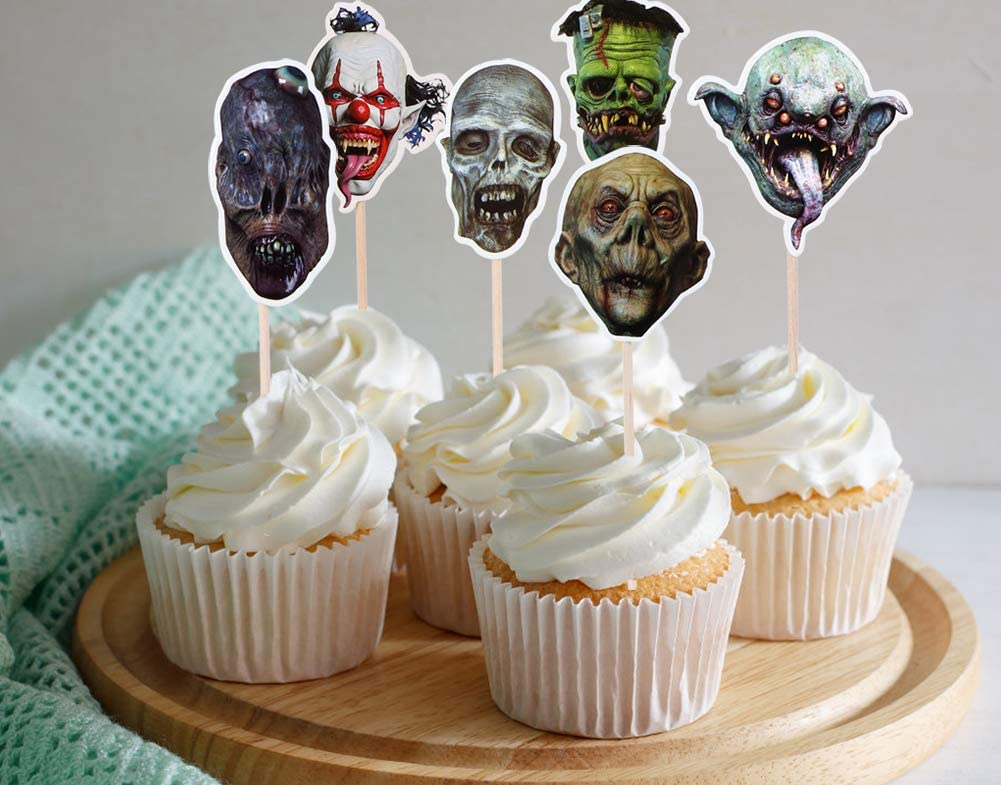 WaaHome Pack of 24 Halloween Cupcake Toppers Spooky Skeleton Halloween Toothpicks Cupcake Decorations Halloween Party Supplies Party Favors