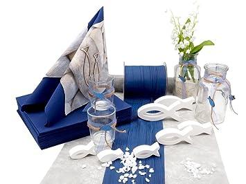 Zauberdeko Tischdeko Kommunion Konfirmation Blau Grau Weiss Fisch Set