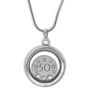 37f96d7b7 Happy 50th Birthday Memory Locket Necklace Made With 3 Clear Crystals  Supplied In A Special Themed Gift Box: Amazon.co.uk: Jewellery