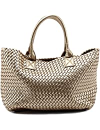 New Womens Woven Tote Handbags Shopping Bag Beach bag w/ Bonus Coin Pouch
